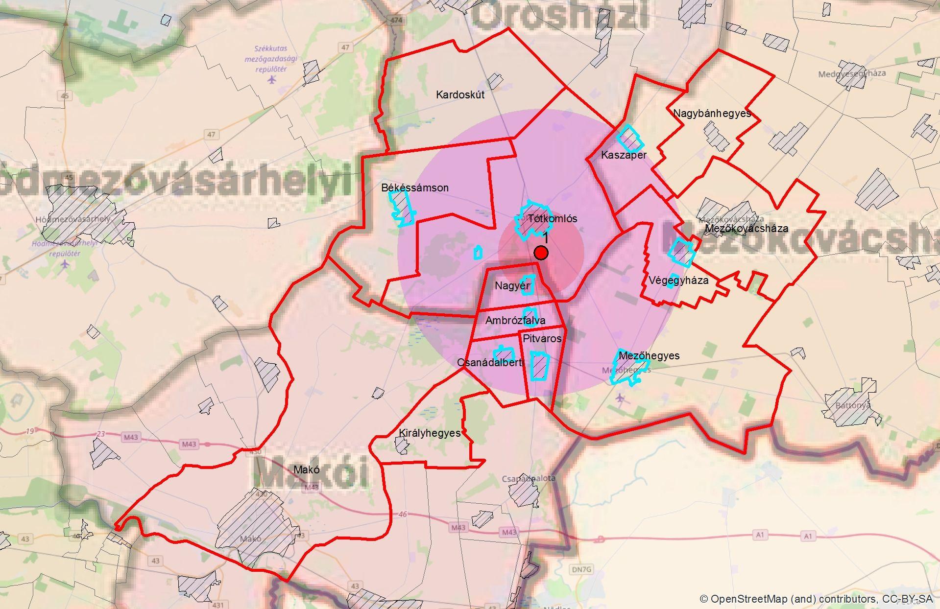 Védő-és megfigyelési körzet térképe